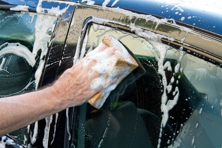 washing a car