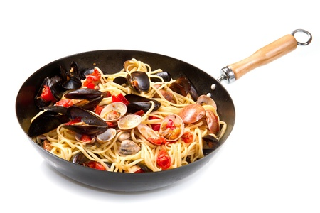 pasta with fresh mollusk and tomatoes sauce photo