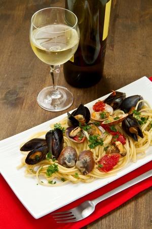Foto di deliziosa pasta con vongole e cozze