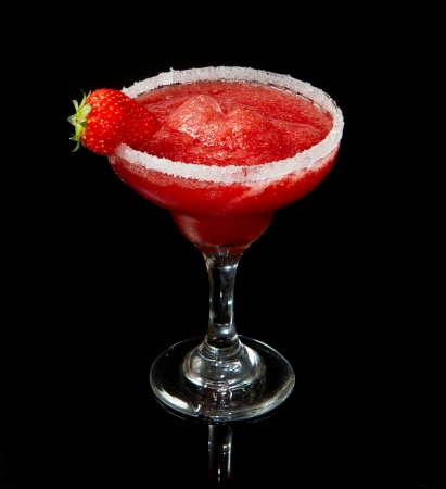 daiquiri alcohol: strawberry cocktail on black background