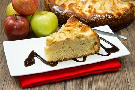 Apple Tart  with fresh apple on table photo