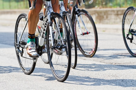 The cyclists riding by at the bicycle race Stock Photo - 10544027