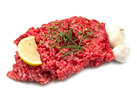 vlees: Rauw gehakt vlees Stockfoto