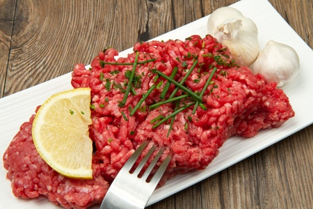 mincing: raw minced meat Stock Photo