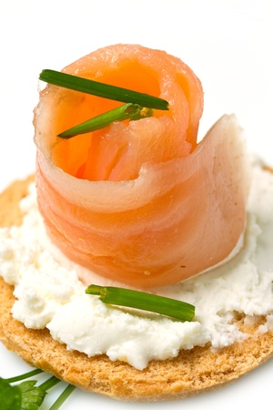 wholemeal: Canape with Salmon on white dish
