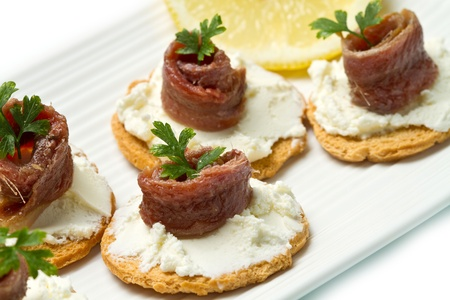 anchovy fish: Canapes with anchovy