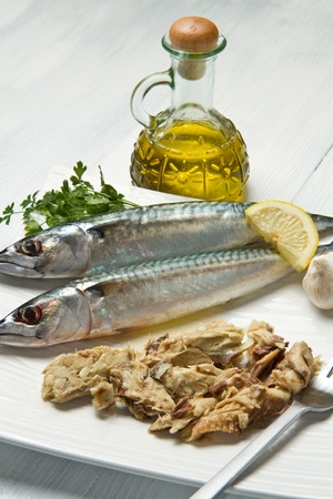 mackerel fiillet with fresh ingredients on white dish photo