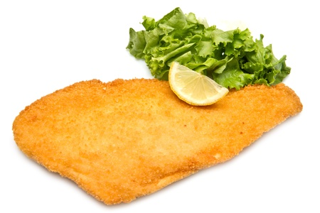 fillet of fried fish on white background photo