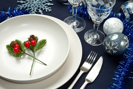 a decorated christmas table Stock Photo