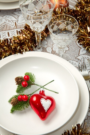 a decorated christmas table Stock Photo - 10976312
