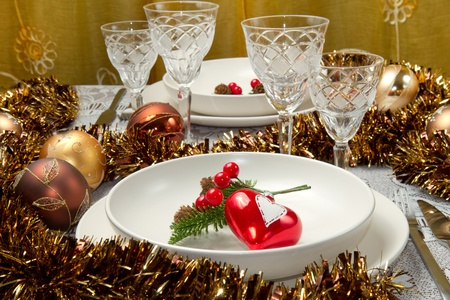 a decorated christmas table photo