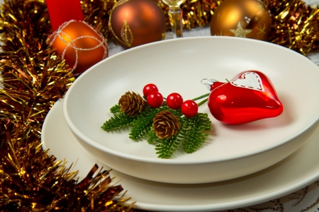 Christmas dinner table with  christmas atmosphere photo