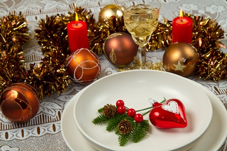 Christmas dinner table with  christmas atmosphere Stock Photo - 10976327