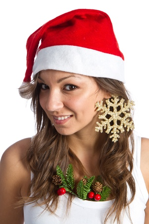 Beautiful Young Happy Christmas Woman photo