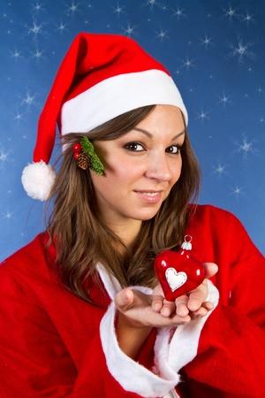 Beautiful Young Happy Christmas Woman Stock Photo - 11105110