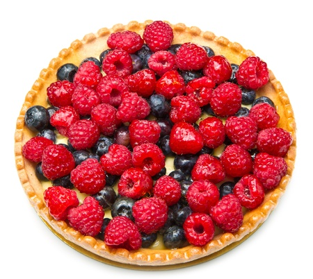 cream pie: fruit tart with fresh raspberry and blueberry