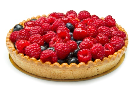 summer pudding: fruit tart with fresh raspberry and blueberry
