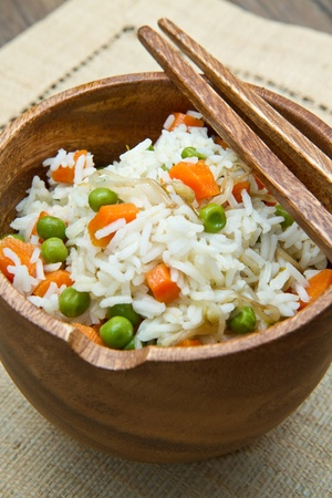 Chinese fried rice with carrots, peas and soybeans photo