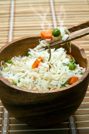 fried rice: Chinese fried rice with carrots, peas and soybeans Stock Photo
