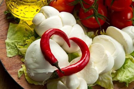 a fresh italian mozzarella  with tomato photo