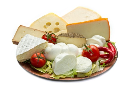 Various types of cheese on wooden board Stock Photo - 11266370
