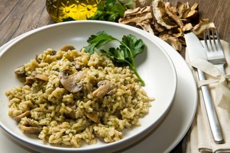 risotto: rice with porcini mushrooms
