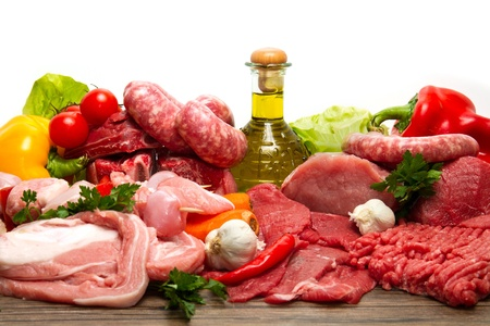 Fresh butcher cut meat assortment garnished Stock Photo - 11591780