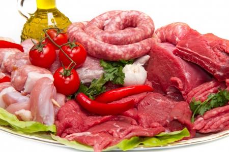 新鮮な肉屋カット肉盛り合わせ添え 写真素材