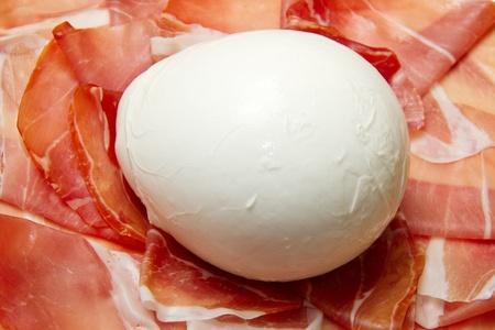 mozzarella cheese: fresh italian  mozzarella with ham