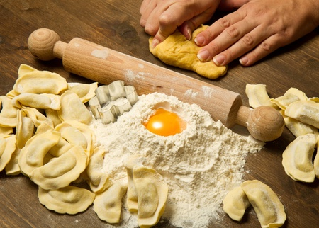 homemade style: ravioli homemade pasta typical italian