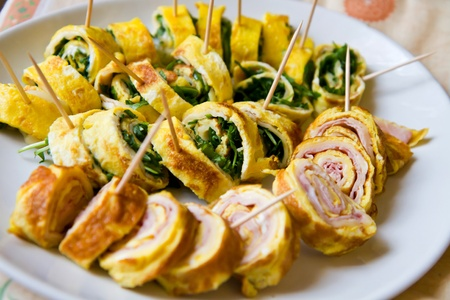 egg roll: roll with ham and rocket