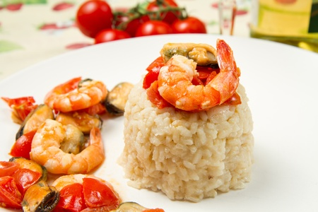 risotto with shrimps and mussels photo