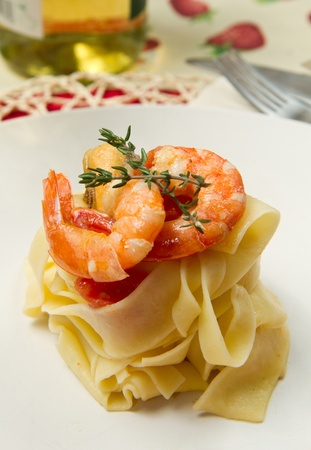 pasta with fresh  shrimp and  mussels   photo