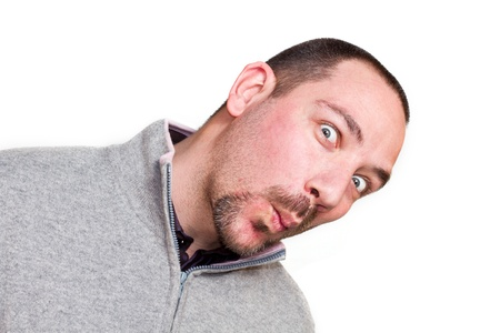man with black hair up isolated, crazy, mad, funny, shocked, surprised  photo