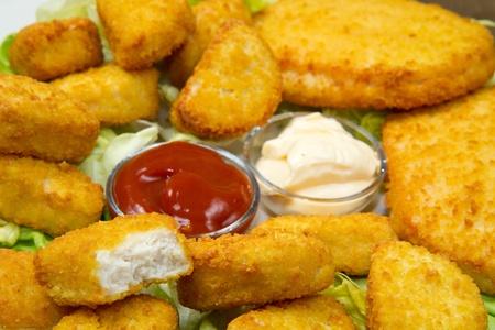 nuggets with ketchup and mayonnaise Stock Photo - 12117664