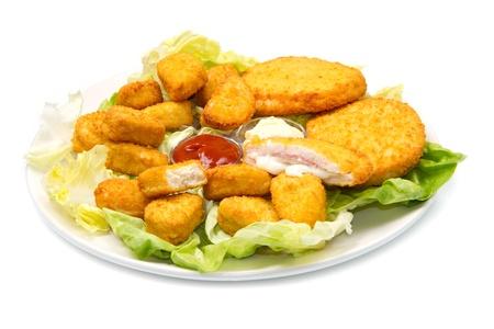 nuggets with ketchup and mayonnaise Stock Photo - 12117681