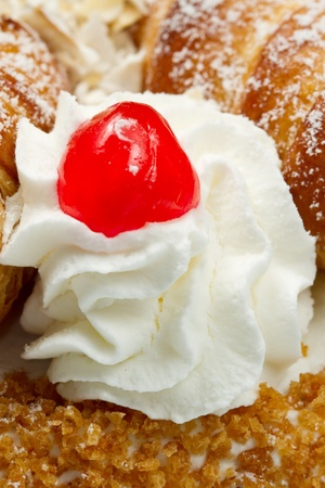 cake with whipped cream and cream puffs Stock Photo - 12408106