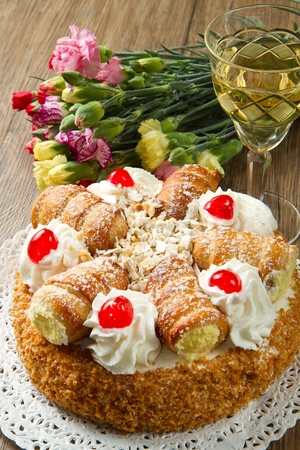 cake with whipped cream and cream puffs Stock Photo - 12408206