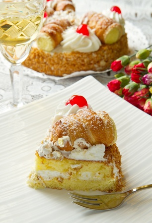 slice of cake with whipped cream Stock Photo - 12408101