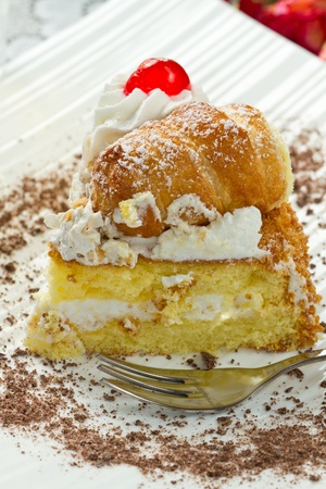 slice of cake with whipped cream Stock Photo - 12408199