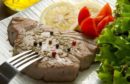 tuna filet with salad photo