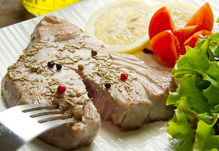 tuna filet with salad photo