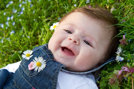 baby on green grass with daisy photo