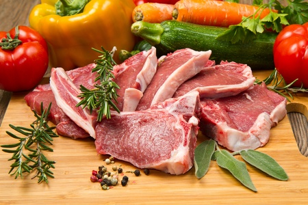 rack of lamb: cutlet of lamb with vegetables Stock Photo