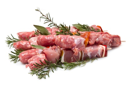veal sausage: Meat and pepper skewers