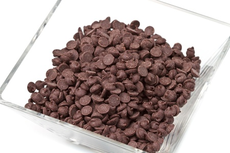 Chocolate Chips on White Background  photo