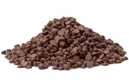 chocolate chips: Chocolate Chips on White Background