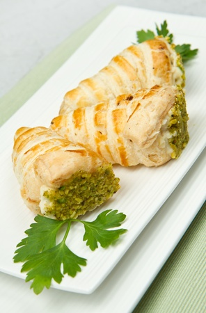 puff pastry: cornet appetizer  Stock Photo