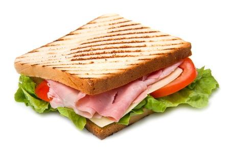 jamon y queso: gran sándwich con jamón, queso, tomate y ensalada en pan tostado
