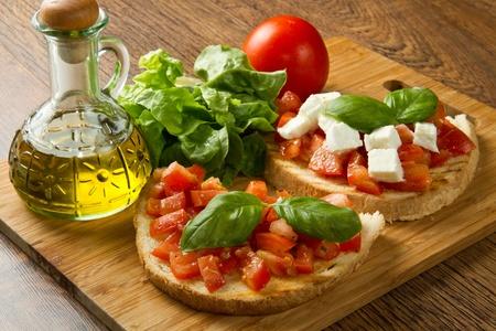 italian bruschetta with fresh tomatoes